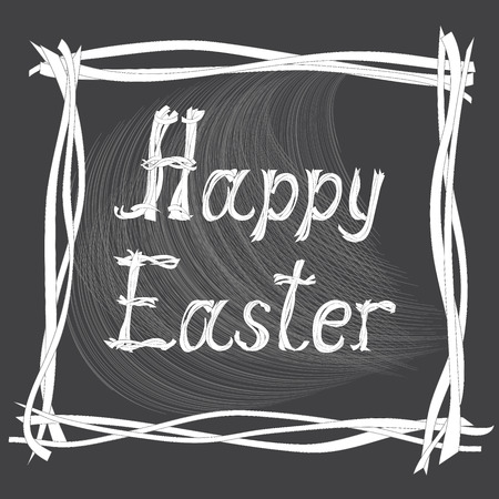 caligraphic: Hand drawn creative text Happy Easter on the  black background. Vector illustration Illustration