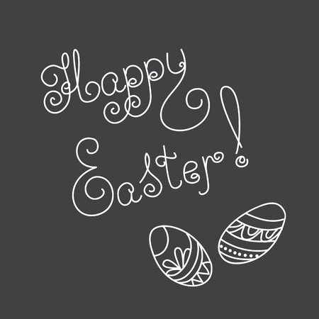 caligraphic: Hand drawn decorated eggs on the black background with caligraphic text Happy Easter. Vector illustration -