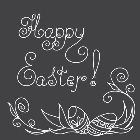 caligraphic: Hand drawn decorated eggs on the black background with caligraphic text Happy Easter. Vector illustration