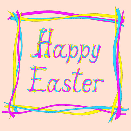 caligraphic: Hand drawn creative colored text Happy Easter. Vector illustration