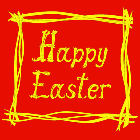 caligraphic: Hand drawn creative text Happy Easter  on the  red background. Vector illustration Illustration