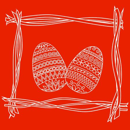 decorated eggs: Hand drawn decorated eggs on the red background. Vector illustration