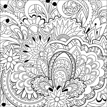 Hand drawn decorated image with flowers and mandalas. Henna Paisley flowers Mehndi. Image for adults coloring book. Vector illustration