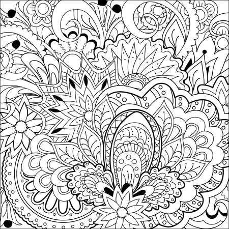 Hand drawn decorated image with flowers and mandalas. Henna Paisley flowers Mehndi. Image for adults coloring book. Vector illustration - eps 10.