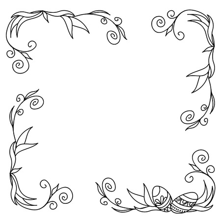 hand pencil: Hand drawn  decorated doodle mandala. Image for easter card. Vector illustration Illustration