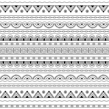 hand pencil: Hand drawn decorated seamless pattern in boho style. Pencil drawing. Monochrome image. Vector illustration - eps 10.