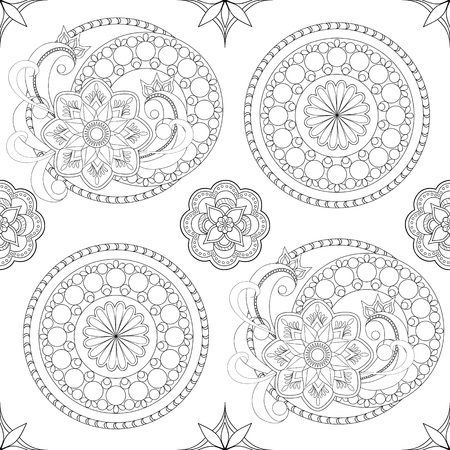 mono print: Hand drawn decorated seamless pattern with flowers and mandalas.  Vector illustration