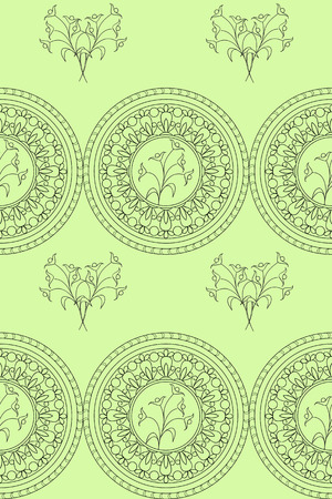 mono print: Hand drawn decorated seamless pattern with flowers and mandalas.  Boho style. Vector illustration
