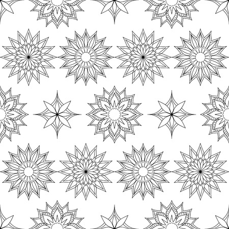Hand drawn decorated seamless pattern in boho style with mandalas.  Monochrome image. Vector illustration