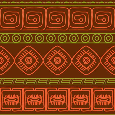 brawn: Hand drawn geometric seamless pattern. Boho style. Vector illustration