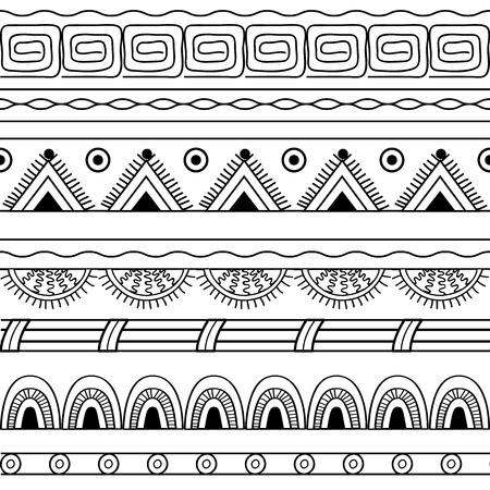 Hand drawn  geometric monochrome seamless pattern. Vector illustration
