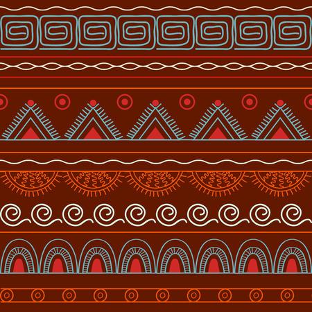 brawn: Hand drawn geometric seamless pattern. Boho style. Vector illustration -