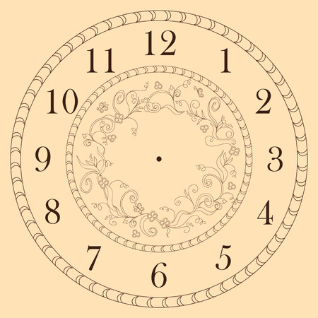 Hand drawn decorated clock face in boho style. Vector illustration - eps 10.