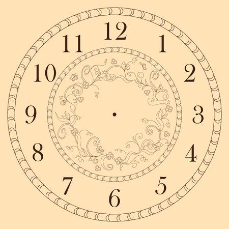 Ręcznie rysowane zdobiony zegar twarz w stylu boho. Vector ilustracji - eps 10.