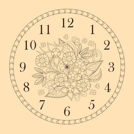 Hand drawn decorated clock face in boho style. Vector illustration