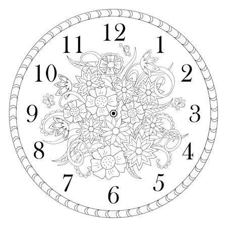 Ręcznie rysowane zdobiony zegar twarz w stylu boho na białym tle. ilustracji wektorowych