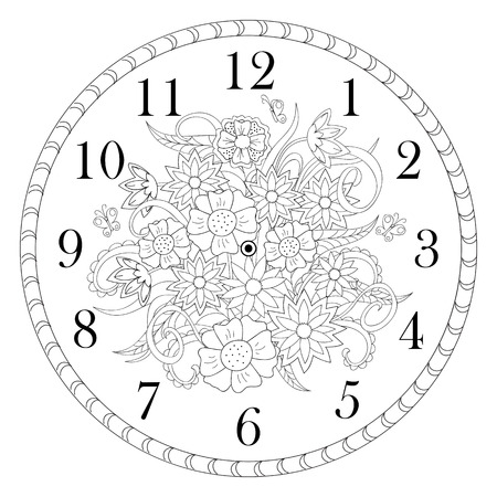 Hand drawn decorated clock face in boho style on the white background. Vector illustration