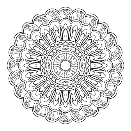 Hand drawn decorated mandala.  Image for adults and children coloring page, tattoo. Vector illustration 일러스트