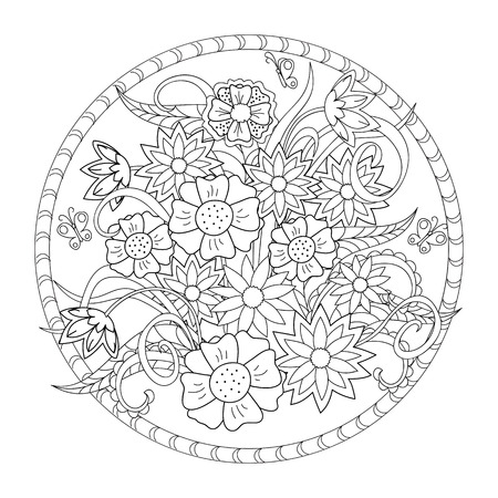 Hand drawn image with flowers for adult and children coloring book. Image for decoration clock face, dishes, crockery, plates, walls.