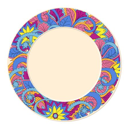 porcelain: Hand drawn doodlel decorated saucer in boho style. Isolated on  white. Template for decoration dishes,  plates, porcelain. Vector illustration Illustration