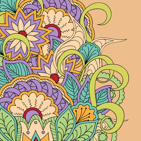 free image: Hand drawn doodle colorful  floral background with mandalas.
