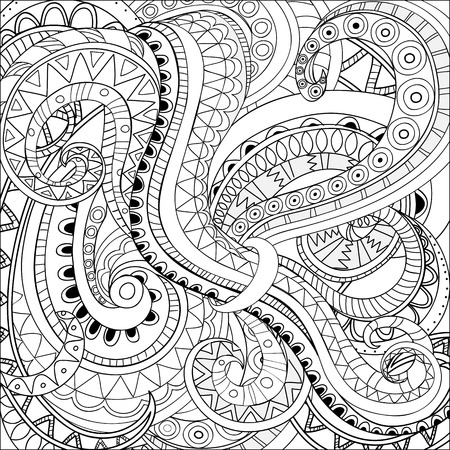 ophidian: Hand drawn doodle monochrome abstract background.