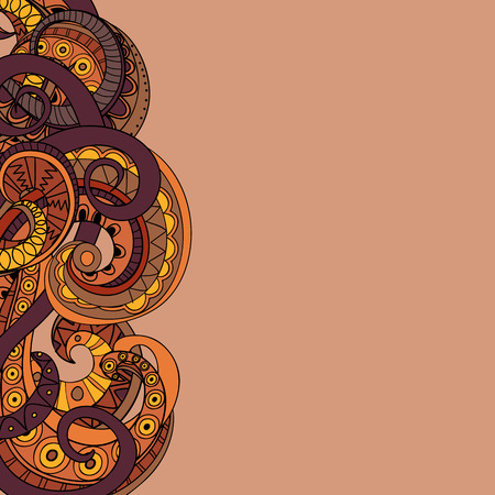 ophidian: Hand drawn doodle colorful abstract image on the beige background. Illustration