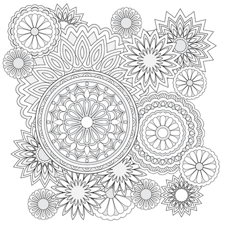 Mandalas and flawers with hand drawn elements. Image for adult and children coloring books, pages. For decorate dishes, cups, porcelain, ceramics. Vector illustration - eps 10.