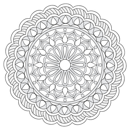 Mandala with hand drawn elements. Image for adult and children coloring books, pages, tattoo. For decorate dishes, cups, porcelain, ceramics. Vector illustration - eps 10.