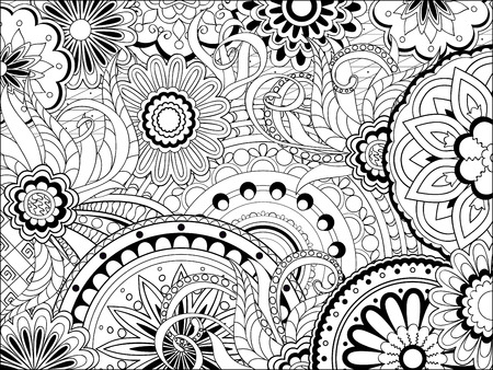 Hand drawn decorated image with doodle flowers and mandalas. Image for adult coloring pages, books. Vector illustration - eps 8. 일러스트