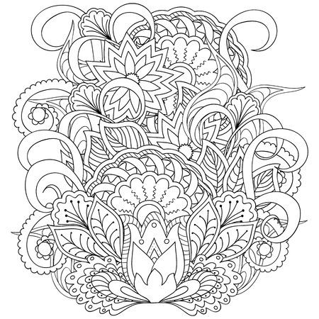 Disegnata a mano immagine decorato con fiori doodle e mandala. Immagine per le pagine da colorare per adulti, libri. Per i piatti decarate, tazze, porcellana, ceramica. Illustrazione - eps 10.