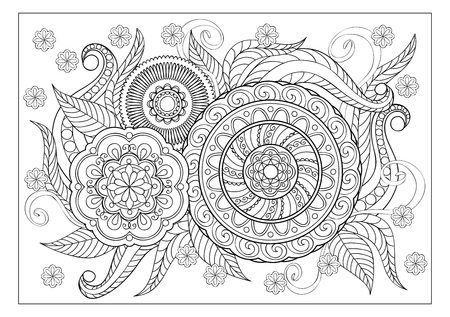 Hand drawn decorated image with doodle flowers and mandalas. Image for adult coloring pages, books, embroidery. Vector illustration - eps 8.