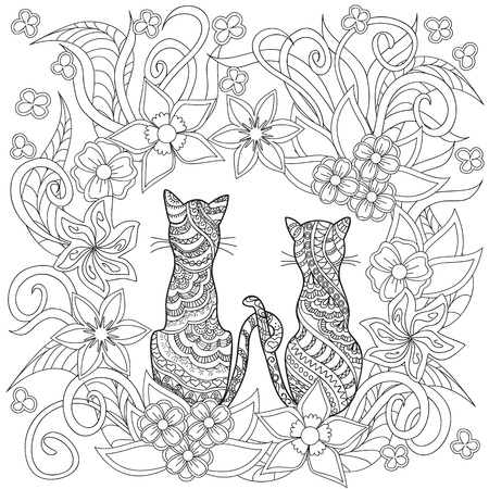 Hand drawn decorated cartoon cats in boho style. Pencil drawing.  Image for adult or children coloring  book, page. Vector illustration - eps 10.