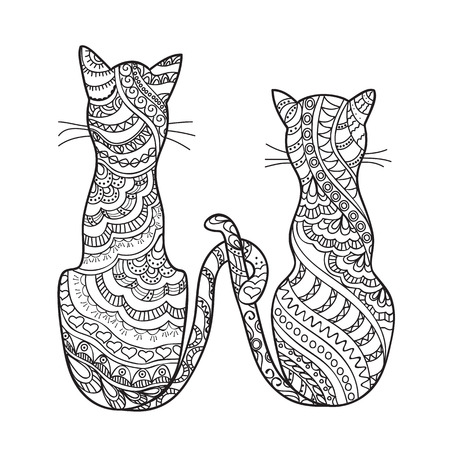Hand drawn decorated cartoon cat in boho style. Pencil drawing.  Image for adult or children coloring  book, page, tattoo. Vector illustration - eps 10. 向量圖像