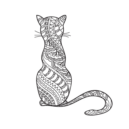 Hand drawn decorated cartoon cat in boho style. Pencil drawing.  Image for adult or children coloring  book, page, tattoo. Vector illustration - eps 10. 일러스트