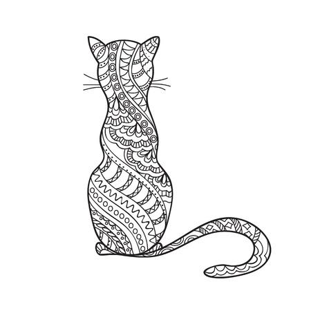 Dibujado a mano de dibujos animados del gato decorada en estilo boho. Dibujo a lápiz. Imagen para adultos y niños para colorear libro, página, tatuaje. Ilustración del vector - eps 10. Foto de archivo - 56768492
