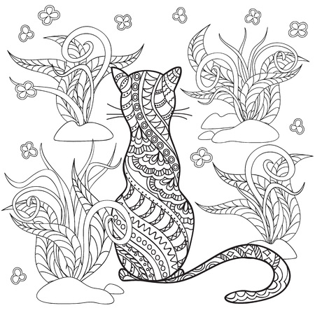 Hand drawn decorated cartoon cat in boho style. Pencil drawing.  Image for adult or children coloring  book, page. Vector illustration - eps 10.