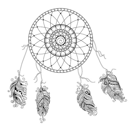 Hand drawn decorated image with doodle feathers and dream catcher isolated on white. Boho style. Image for adult and children coloring books, pages, tattoo, decorate dishes, cups, porcelains, shirts, dresses, bags, tunics. EPS 8. Illustration