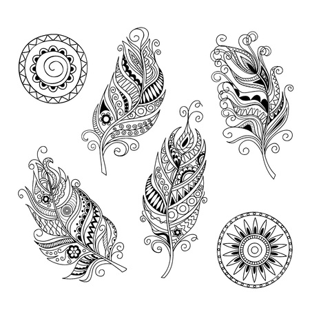Set of hand drawn  mandalas and feathers isolated on white. Boho style. Image for adult and children coloring books, pages, tattoo, decorate dishes, cups, porcelains, shirts, dresses, bags, tunics. EPS 8. 向量圖像