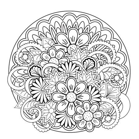 mandala monocromatici e fiori con elementi disegnati a mano. Immagine per adulti e bambini libri da colorare, pagine, tatuaggio. Per decorare piatti, bicchieri, porcellane, ceramiche, camicie, abiti, borse, tuniche. eps 10.