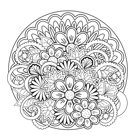 Monochrome mandalas and flowers with hand drawn elements. Image for adult and children coloring books, pages, tattoo. For decorate dishes, cups, porcelain, ceramics, shirts, dresses, bags, tunics. eps 10. Illustration