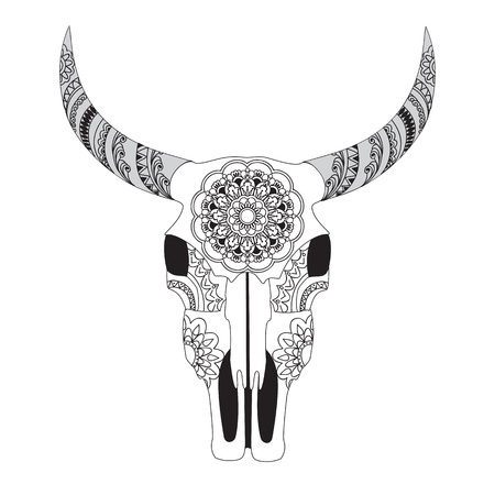 Cow Skull Coloring Book Vector Illustration Royalty Free Cliparts