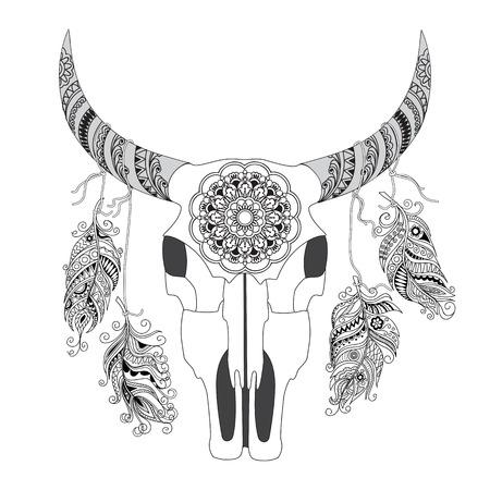 Dibujado A Mano Cráneo De Vaca Con Adornos, Flores, Hojas Y Plumas ...