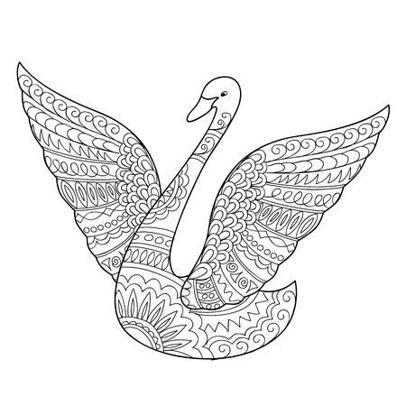 Hand drawn decorated swan isolated on white. Boho style. Image for adult and children coloring books, pages, tattoo, decorate dishes, cups, porcelains, shirts, dresses, bags, tunics. EPS 10.