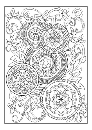 artistic background: Hand drawn image with doodle flowers and mandalas for adult coloring pages, books, embroidery,  decorate t-shirts, dresses, bags, tunics. A4 Paper Size Template.  eps 10. Illustration
