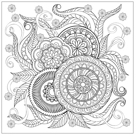 artistic background: Hand drawn image with doodle flowers and mandalas for adult coloring pages, books, embroidery,  decorate t-shirts, dresses, bags, tunics.  eps 10.