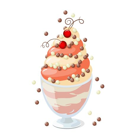 frozen yogurt: illustration isolated currant ice cream or  frozen yogurt in the glass bowl on the white background.