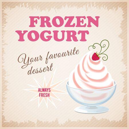 frozen yogurt: illustration banner with strawberry frozen yogurt on the vintage background.