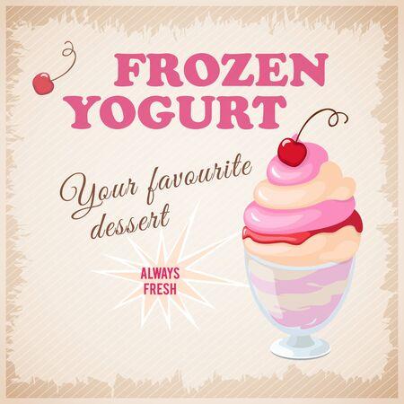 frozen yogurt: illustration banner with cherry frozen yogurt on the vintage background.