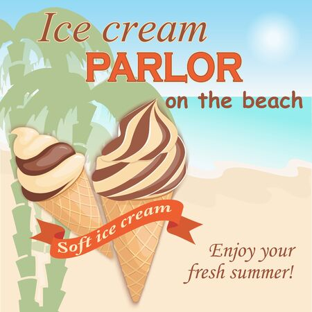 Vector illustration banner with soft chocolate ice cream in the waffle cone on the vintage background. Text Enjoy your fresh summer.
